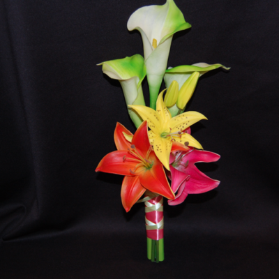 Real-touch-bright-tropical-wedding-bridesmaid-bouquet